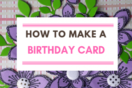 Handmade Birthday Card With Purple Flowers
