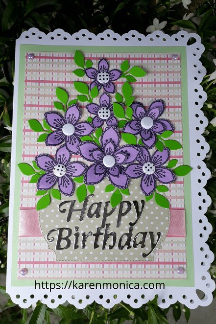 Picture Of A Handmade Birthday Card With Purple Flowers