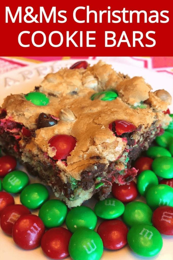 M&M's Christmas cookies bars