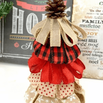 Burlap Ribbon Christmas Tree