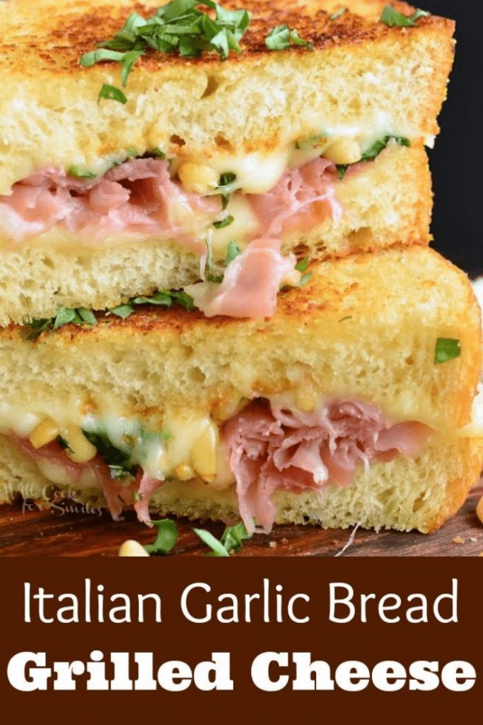 italian garlic bread grilled cheese sandwich