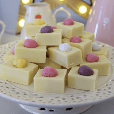 White chocolate Easter fudge