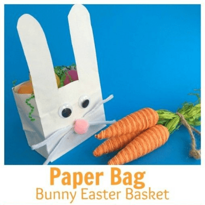 paper bag bunny Easter basket craft for kids